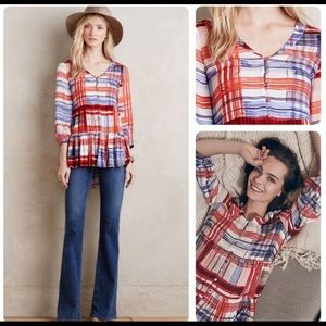 {ANTHROPOLOGIE} Maeve Lila Tiered Plaid Tunic S